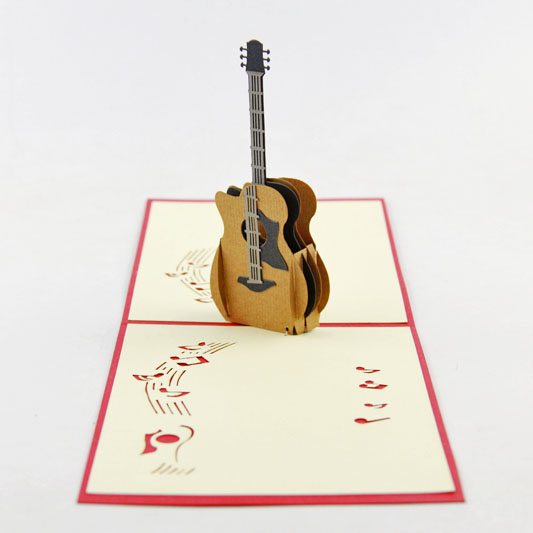 Acoustic Guitar Pop Up Card Birthday Music Lovers Instrument In Cards Invitations From Home
