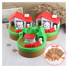 새로운 전자 돼지 저금통 귀여운 마우스와 고양이 돈 상자 음악 동전 저장 상자 아이를위한 책상 장난감 생일 크리스마스 선물