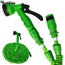 Hot Sale Expandable Garden Water Hose 25FT to 100FT For Car Magic Flexible Garden Hose Pipe Set To Watering With Spray Gun Green