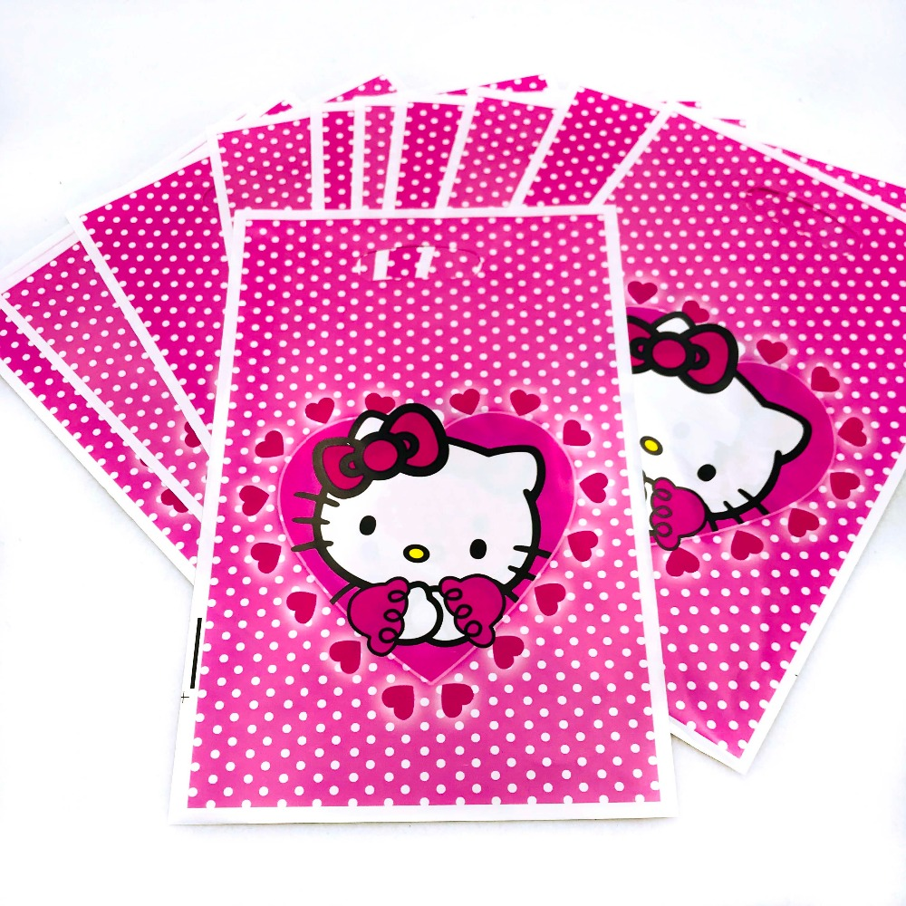 10pcs Hello Kitty Party Bags Ideas 3rd Kids Birthday Party Decoration Hello Kitty Baby Shower Supplies Favors Gift Paper Bags
