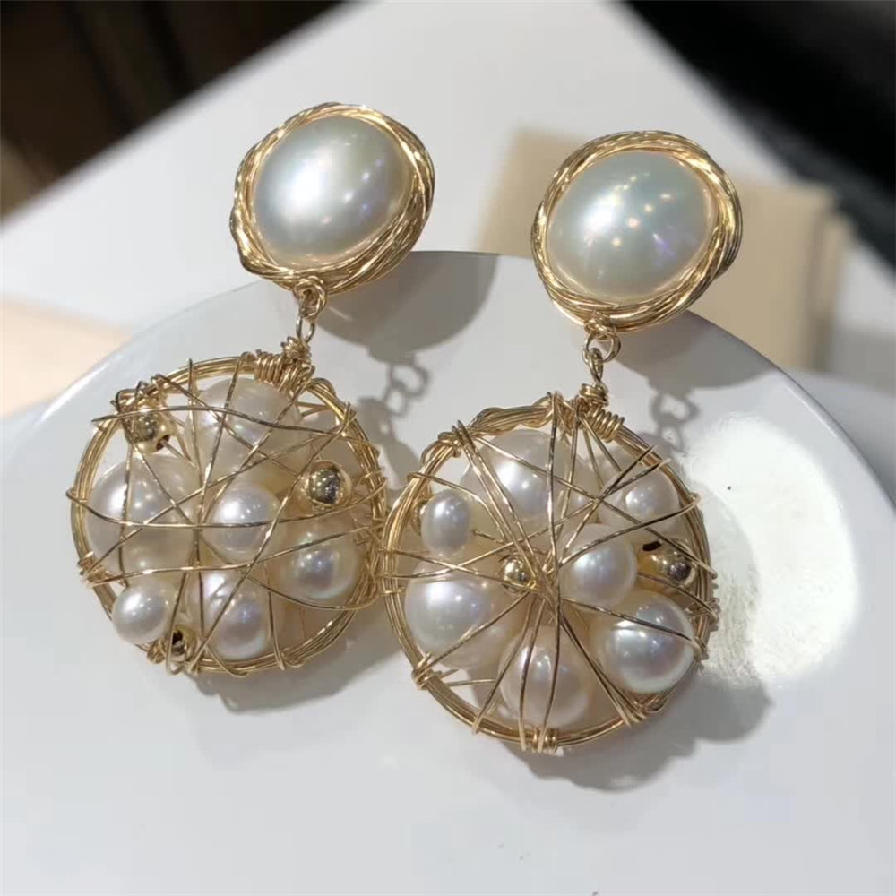 hand made fine jewelry factory wholesale fashionable 14k gold mix Bakloh natural pearl pendant earring 2