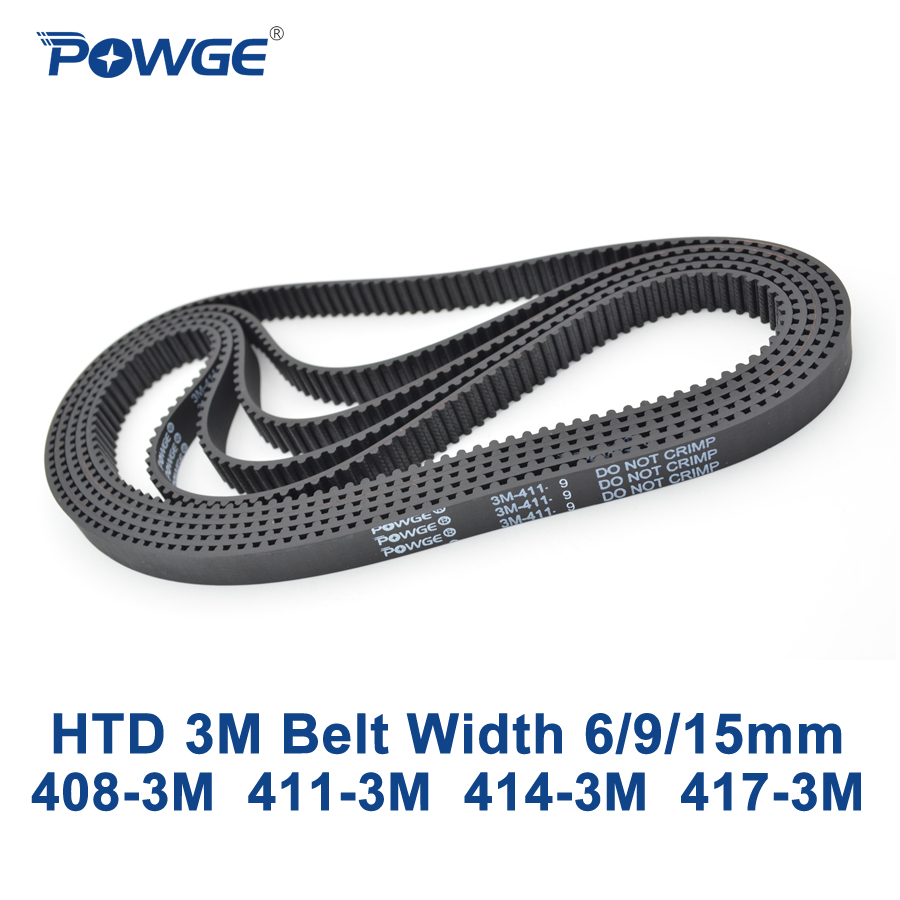 POWGE HTD 3M Timing belt C= 408 411 414 417 width 6915mm Teeth 136 137 138 139 HTD3M synchronous 408-3M 411-3M 414-3M 417-3M