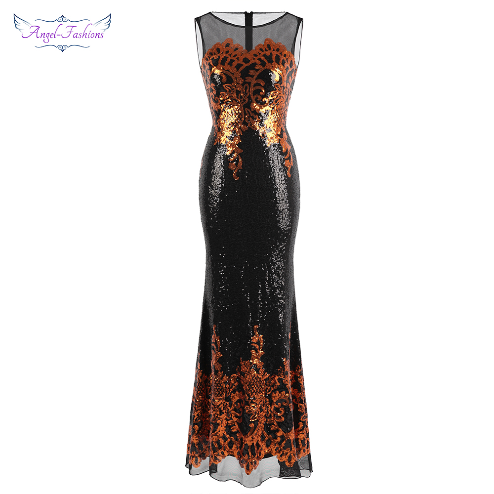Angel fashions Women s Sheer Evening Dresses Long Gold Sequin Pattern Party Gown Vintage Dress 444