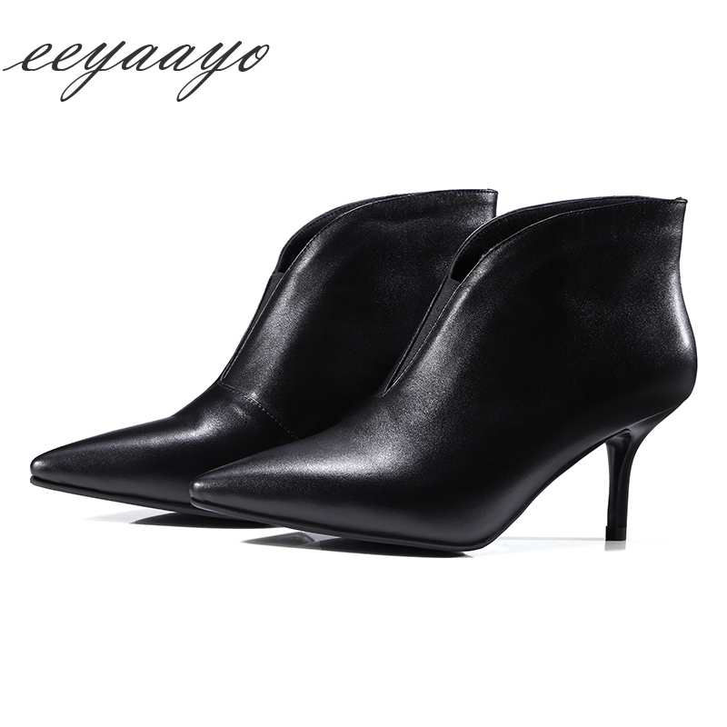 Genuine leather ankle boots women shoes high heel cow leather slip-on classic sexy ladies pointed toe spring Black women shoes full grain genuine cow leather knee high boots shoes for woman black point toe anti slip pointed toe female women s boot pr1354