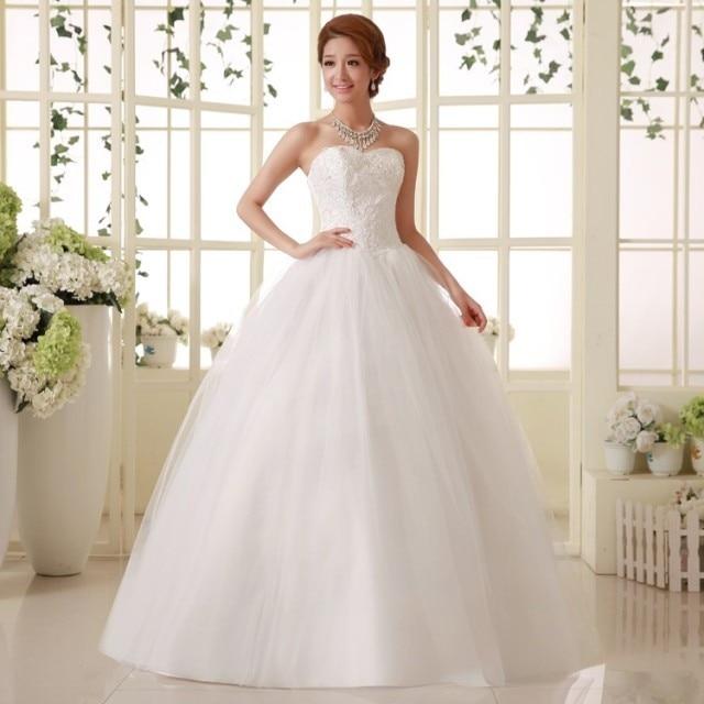 Fashionable wedding dress 2014 sweet lovely princess slim for Slim white wedding dresses