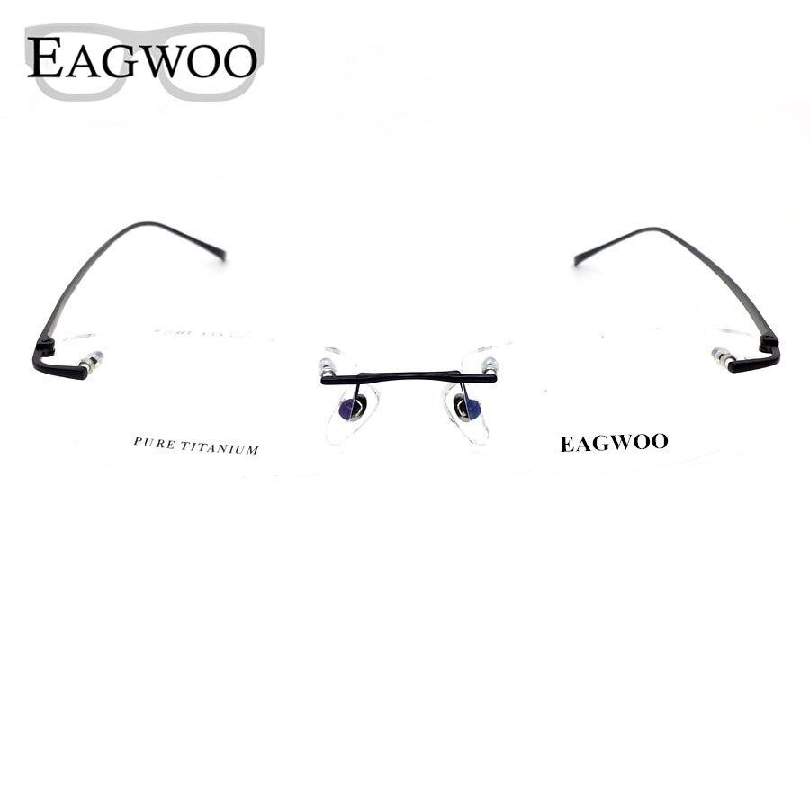Pure Titanium Eyeglasses Rimless Optical Frame Prescription Spectacle Resize Glasses For Men Slim Temple Framless Eye Glasses