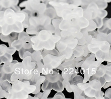 Freeshipping! 500pcs/10x4mm Wholesale White  Lily Flower Frosted Acrylic Beads Spacer Caps For Jewelry Findings