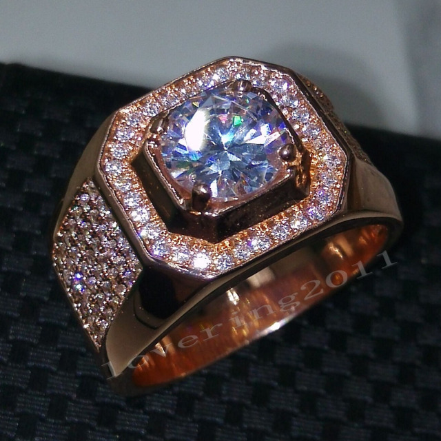 choucong Rose Gold ring Round cut 3ct Topaz simulated diamond Cz 925 Sterling Silver Engagement Wedding Band Ring for men