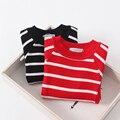 Collar o pescoço Camisolas Outono Primavera Do Bebê de Malha Crianças Listrado Pullover Quente Crianças Roupas Vestuário Padrão Meninas 5 pçs/lote