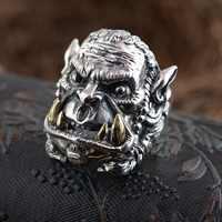 S925 Sterling Silver Ring Antique Phong Cách của Nam Giới món quà sinh nhật phim hoạt hình mô hình nhân vật