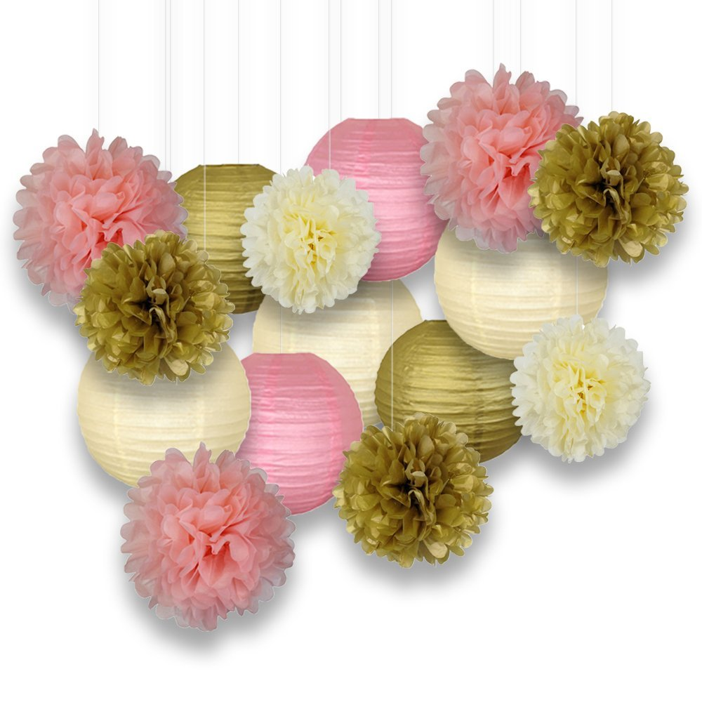 15pcs Mixed Gold Pink Ivory Paper Pack Hanging Paper Lantern Pom Pom