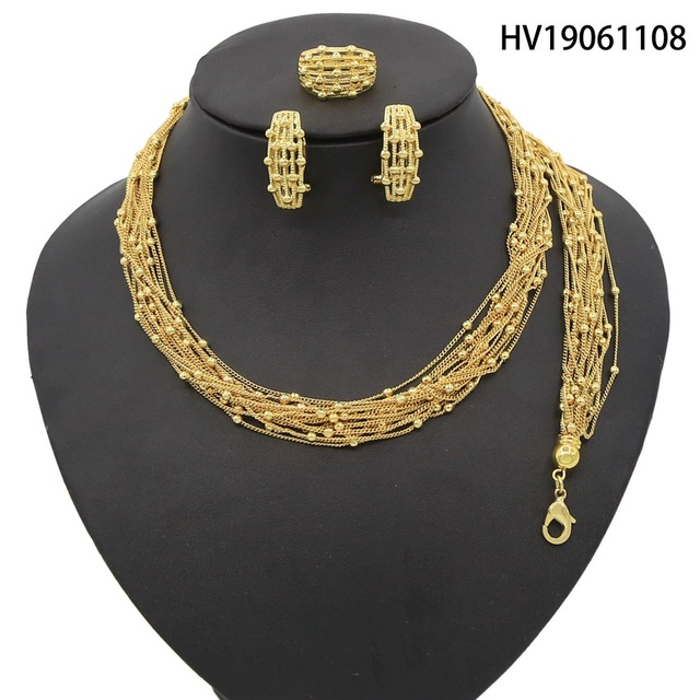 Yulaili 2019 New Arrivals Dubai Gold Jewelry Sets Fashion Small Round Thin Necklace Earrings Ring Nigerian Wedding Jewelry Sets