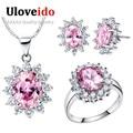 Rosa de Prata Banhado A Jóia Nupcial da Jóia Do Casamento Define Brincos Anéis Colares de Cristal Decorações do Dia Dos Namorados das Mulheres T466