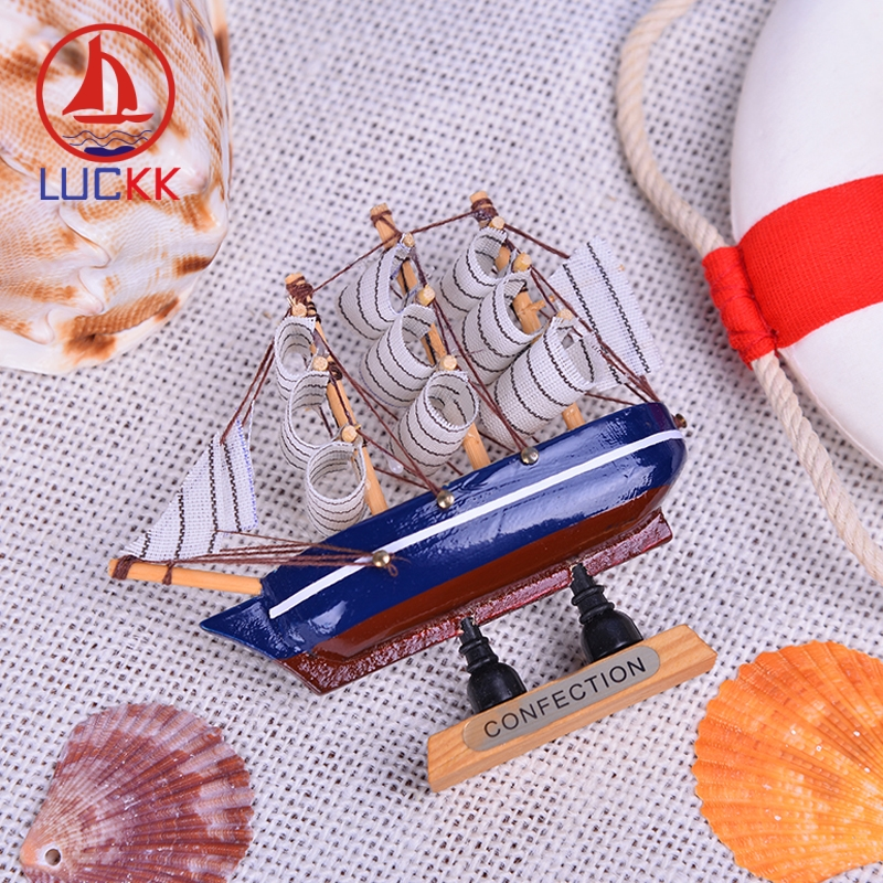 LUCKK 10CM Simulation Wooden Sailbaot Model Ships 6 Color Wholesale Nordic Home Decoration Room Crafts Miniature Kids Toys Gift in Figurines Miniatures from Home Garden