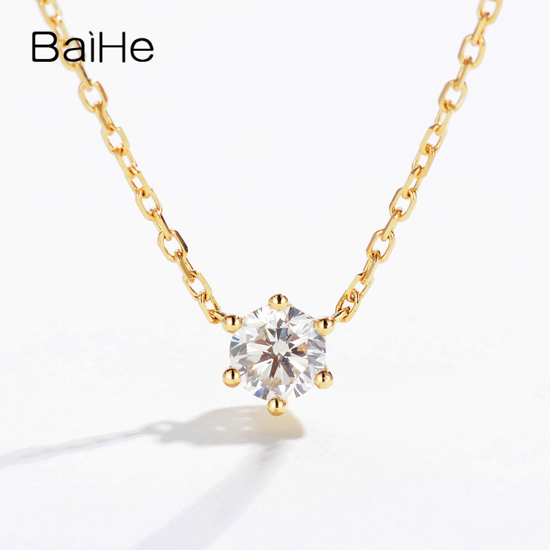 BAIHE Solid 18K Yellow Gold 0.10CT Certified H/SI 100% Genuine Natural Diamond Engagement Women Trendy Fine Jewelry Necklaces