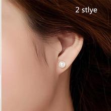 High-quality NYMPH Real freshwater pearl stud earrings jewelry,double 925 sterling silver fine jewelry earrings stud women E108