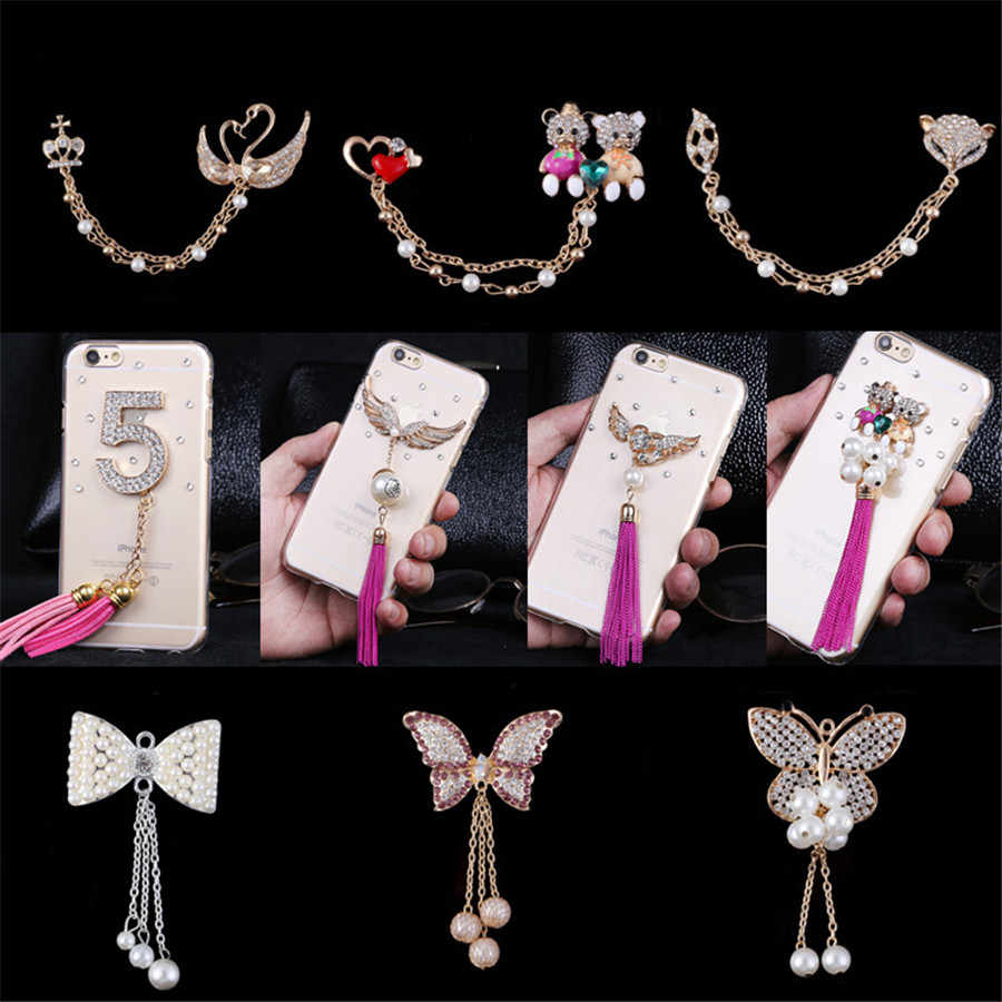 Creative DIY Mobile Shell Accessories Bear Swan Tassel Wings Fan Ball Phone Shell Pearl Alloy Stick Drill Diy Jewelry Marking