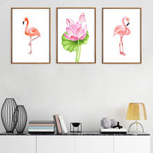 Nordic Abstract Picture Canvas Art Print HD Poster Wall Watercolor Flamingo Lotus Paintings Vintage Living Room Home Decor(China)