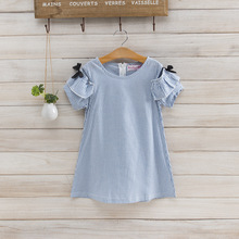 girls dress 2019 new summer Cotton baby clothes Short-sleeved stripes  Kids Clothes 2-3-4-5-6-7 Baby Girl