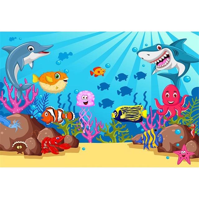 Vinyl Under the Sea Backdrop Photography Deep Ocean Sharks Fishes Baby Kids Mermaid Birthday Party Cartoon Backdrop lv-480