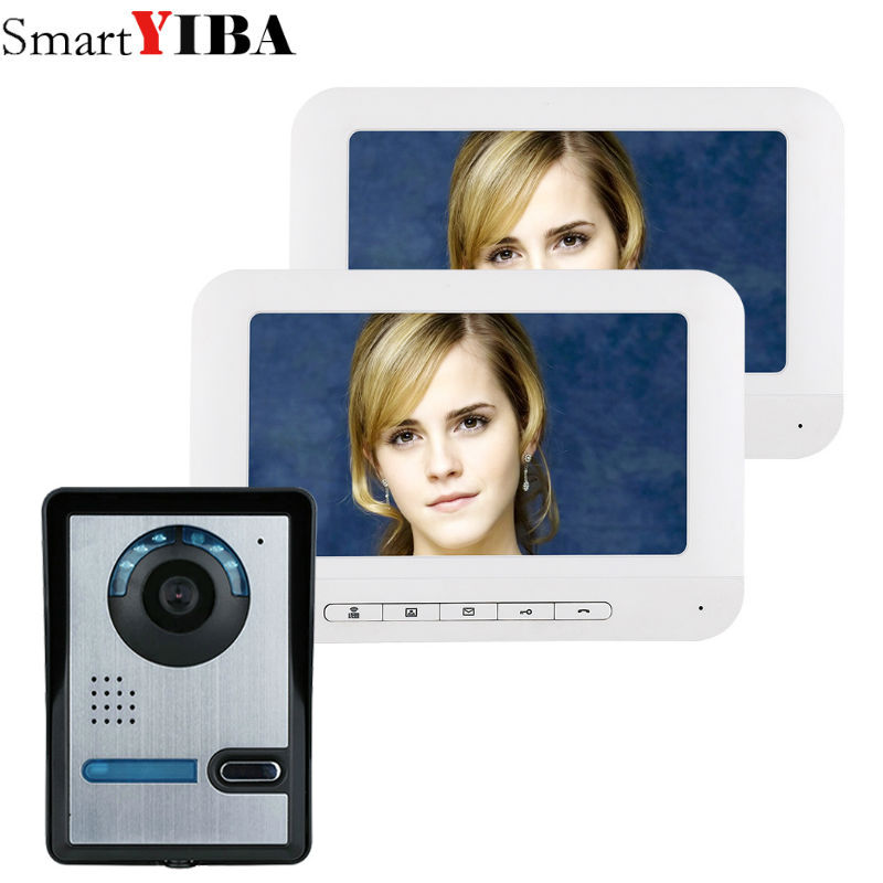 SmartYIBA 7 Inch TFT Video Door Phone Doorbell Intercom Kit 1-camera 2 white monitor Night Vision with IR-CUT HD 700TVL Camera tmezon 4 inch tft color monitor 1200tvl camera video door phone intercom security speaker system waterproof ir night vision 4v1