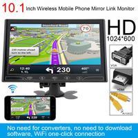 10,1 дюймов HD ips 1024*600 TFT ЖК дисплей универсальный автомобильный монитор Поддержка HDMI/VGA/AV/ беспроводной мобильный телефон Зеркало Ссылка