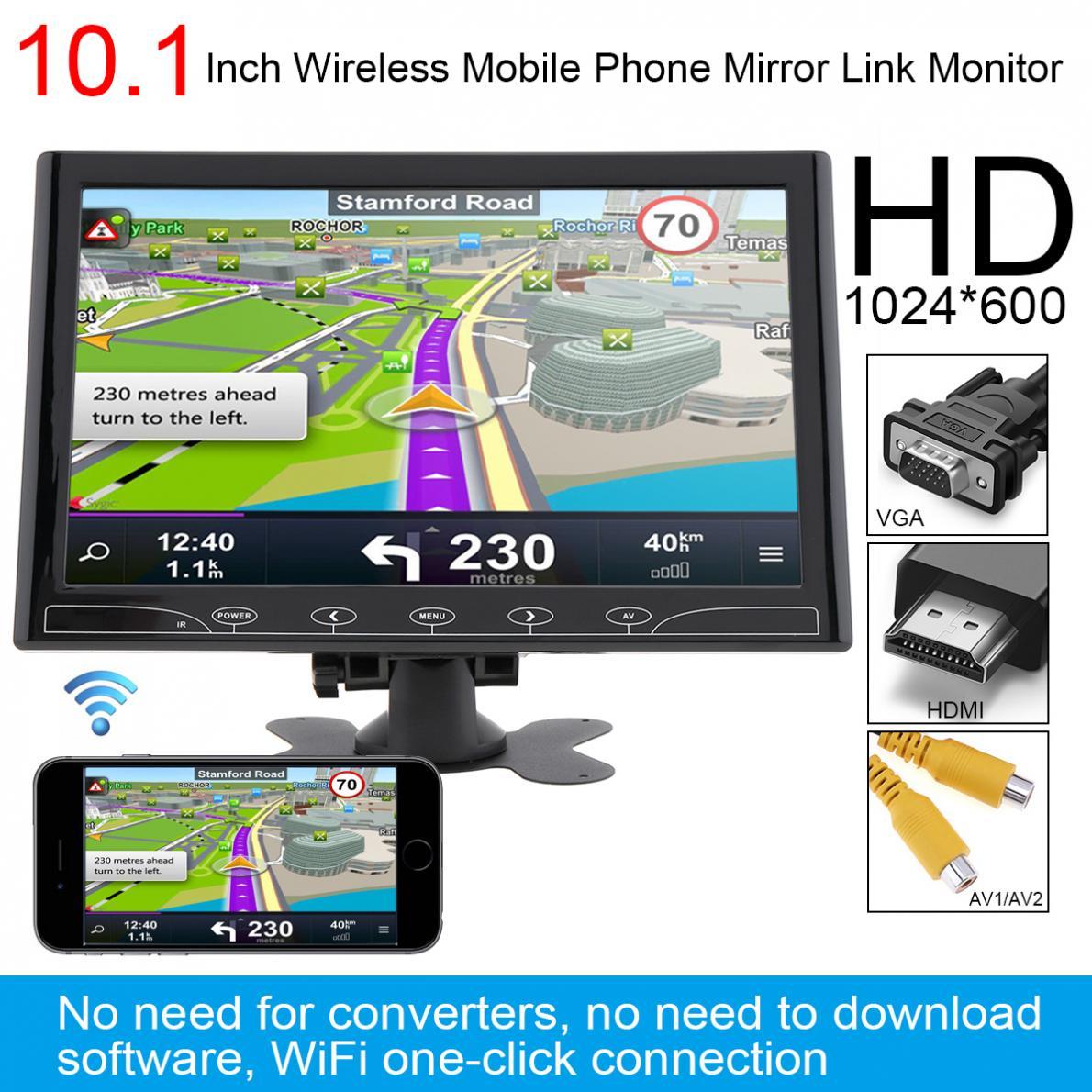 10.1 pouce HD IPS 1024*600 TFT LCD Universel Voiture Appui-Tête Moniteur Soutien HDMI/VGA/AV/ sans fil Mobile Téléphone Miroir Lien