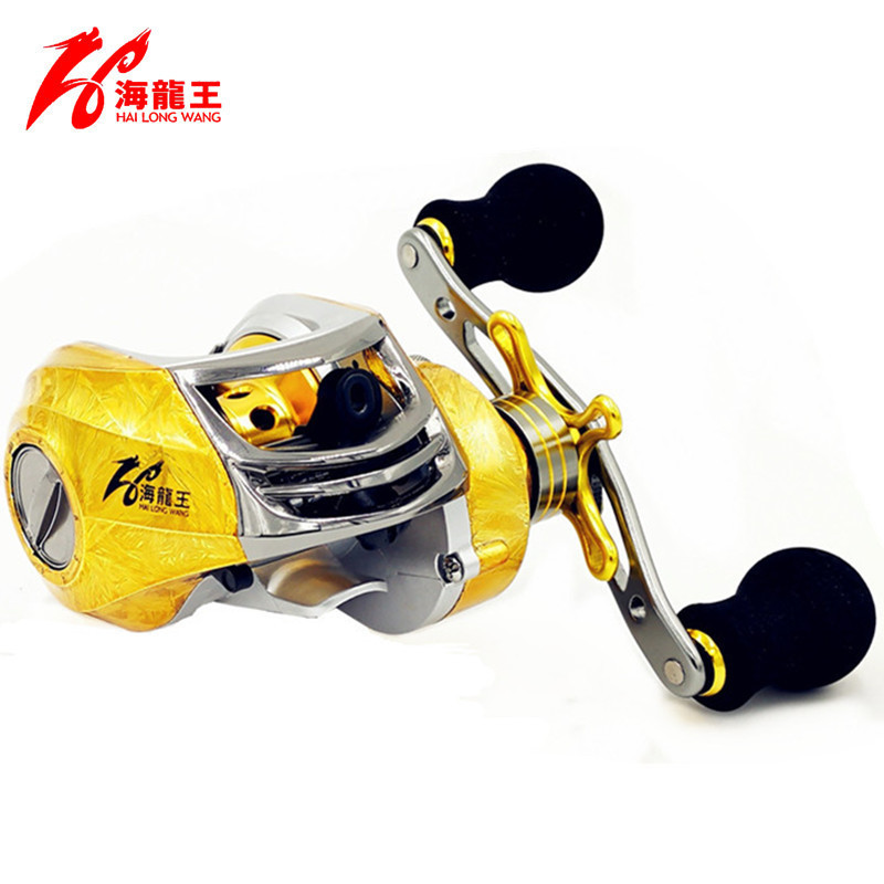 Gold Magnetic Brake 19 Bearing Brand Saltwater Fishing Baitcasting Reel Left Hand Right Handle Bait Casting Reel Fishing Reel new 12bb left right handle drum saltwater fishing reel baitcasting saltwater sea fishing reels bait casting cast drum wheel