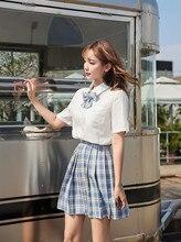 New Japanese Female JK Uniform Summer School Suit High Graduation Clothes Plaid College Skirt