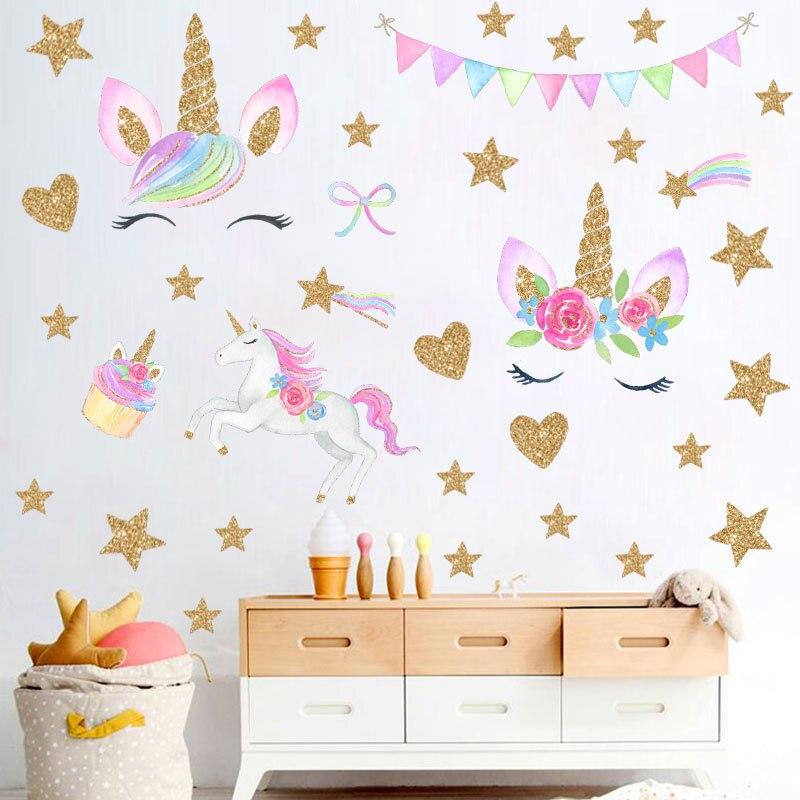 2019 nouveau coloré licorne fête autocollants enfants chambre mur décor coeur étoiles Sticker Muraux bricolage enfants Adesivo de Parede W146