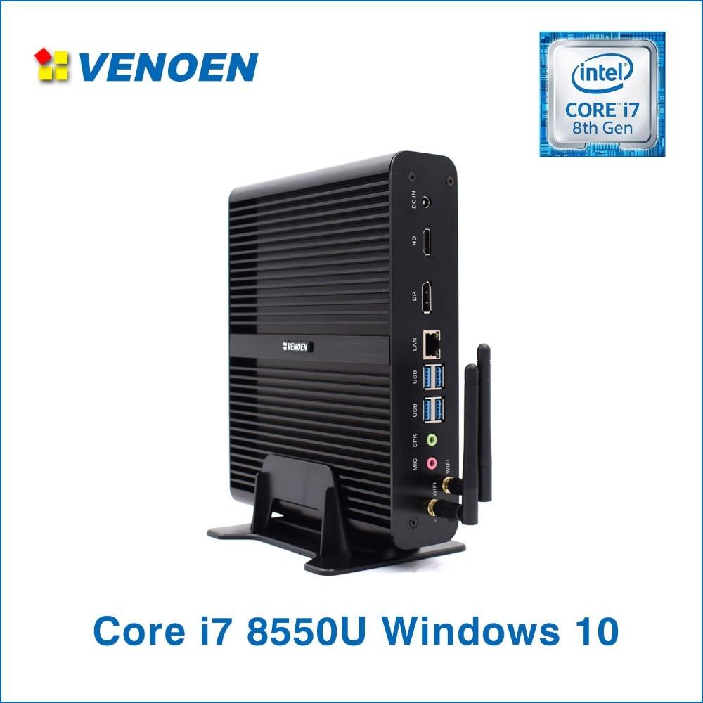 VENOEN Mini PC Intel I7 8550U Fanless Desktop Quad Core HTPC WIFI HDMI DP DDR4 RAM