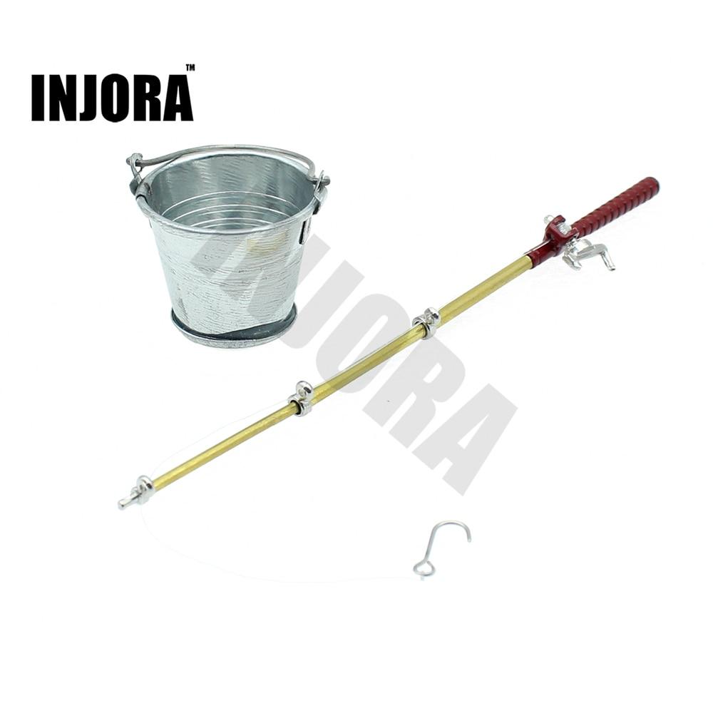 Mini Secchio Canna Da Pesca Strumenti Accessori per 1:10 RC Rock Crawler Assiale SCX10 90046 Wraith Yeti D90 D110 Traxxas TRX-4