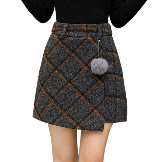 1113452a7d Perfect S XXL 2017 Office Lady Winter Scottish Vintage Woolen Plaid Skirt  OL28