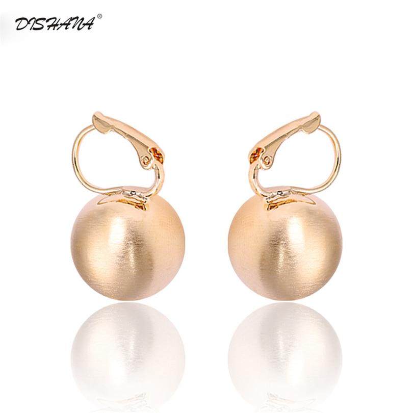 Anting cincin anting-anting gaya retro bersinar emas-warna bola bentuk anting-anting stud untuk wanita anting-anting fesyen wanita hadiah kancing E0267