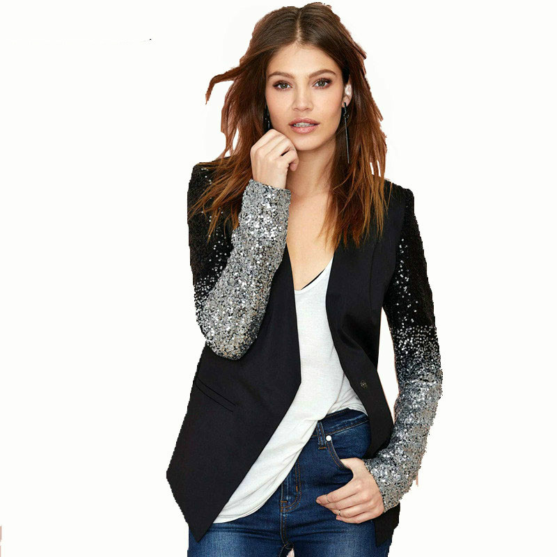 Women Black Slim Sequins Suits Blazer Silver stitching Embroidery Performance Costume Stage Wear Star Jacket Coat OL buckle Suit