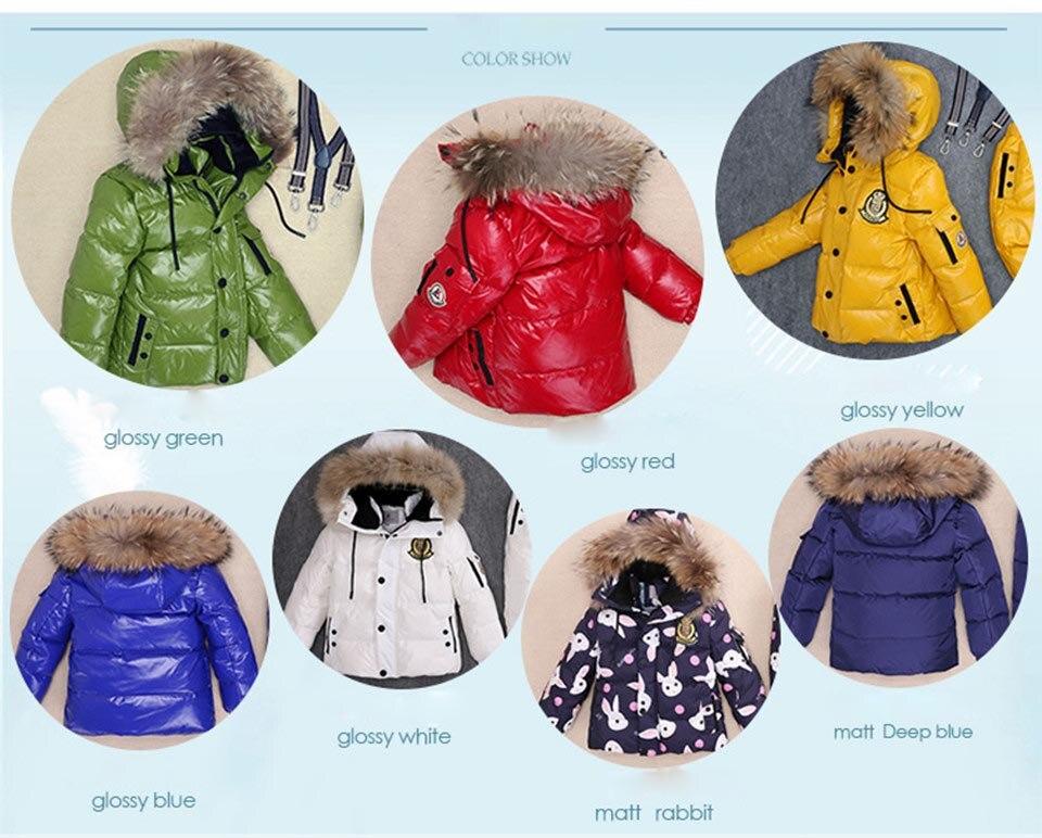 8b20e0eeaa -30 grados Rusia invierno Ropa para Niños Niñas Ropa conjuntos niños Parka  chaquetas abrigo de piel Natural abajo ropa de nieve impermeable