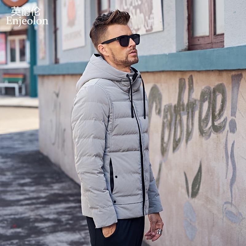Enjeolon brand fashion thicken winter down hooded jacket men light clothing black Gray coat plus size 3XL down parka MF0116