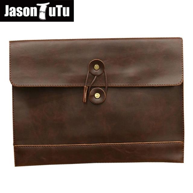 b2fd52e14bd1 JASON TUTU Brand designer men Pu leather handbags envelope clutch bag male  business A4 portfolio bag briefcase Free shipping B11