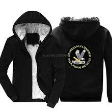 Для мужчин Хлопковые утепленные Утепленная одежда Lapd Swat полицейский Для мужчин толстовки Повседневное мужской хип-хоп толстовки куртка Harajuku уличная Фитнес