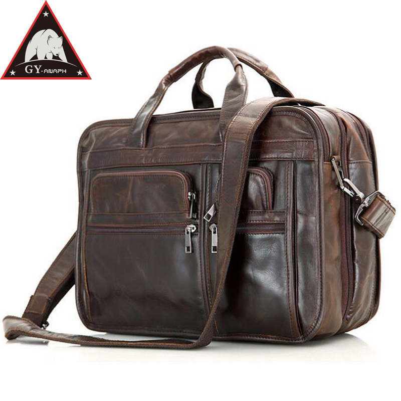 ANAPH Full Grain Leather Men's Briefcases 15 Inches Laptop Bag For Men Business Tote Bags Double Zippers Open Top Quality Coffee anaph 15 inch laptop briefcase men office work bags brown real cow leather top quality tote bag man double zippers open