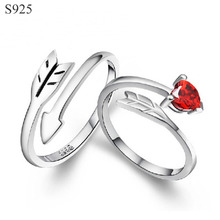 c5035dc8db Genuine Real Pure Solid 925 Sterling Silver Couple Rings Jewelry Women Men  Female Male Ring Arrow