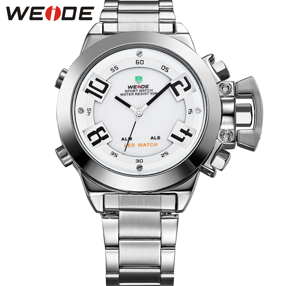 ФОТО WEIDE Luxury Brand Mens Silver Stainless Steel Watch Special Fashion Sports LED Analog Quartz Digital Display Causal Clocks
