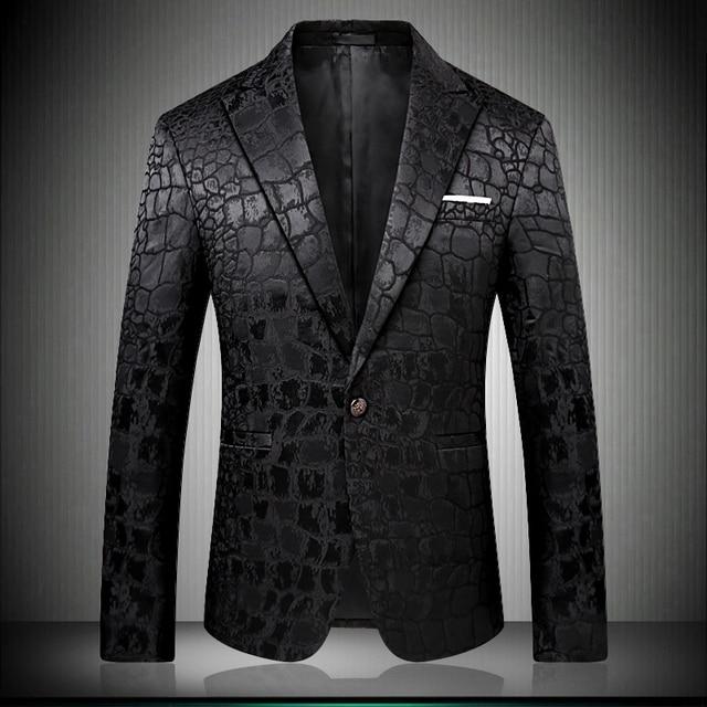 Black Blazer Men Crocodile Pattern Wedding Suit Jacket Slim Fit Stylish Costumes Stage Wear For Singer Mens Blazers Designs 9006