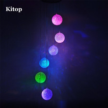 Kitop 6Leds Solar Wind Chimes LED decorative Light Multicolor Ball Hanging lighting For Window/ Party/ Garden/Wedding etc.