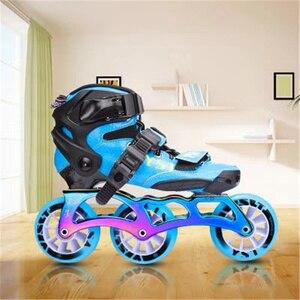 Image 2 - פחמן סיבי Inline מהירות גלגיליות נעליים לילדים ילדים סיב מרוצי מסלול תחרות 3X90mm 3X100mm 110MM 4X90mm 3 4 גלגלים
