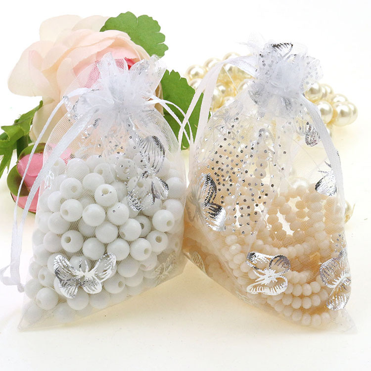 Butterfly White Bronzing Organza Jewelry Gift Bags Sheer Organza Pouch Wedding Favors Tulle Bags 9x12cm 100pcs/lot Wholesale