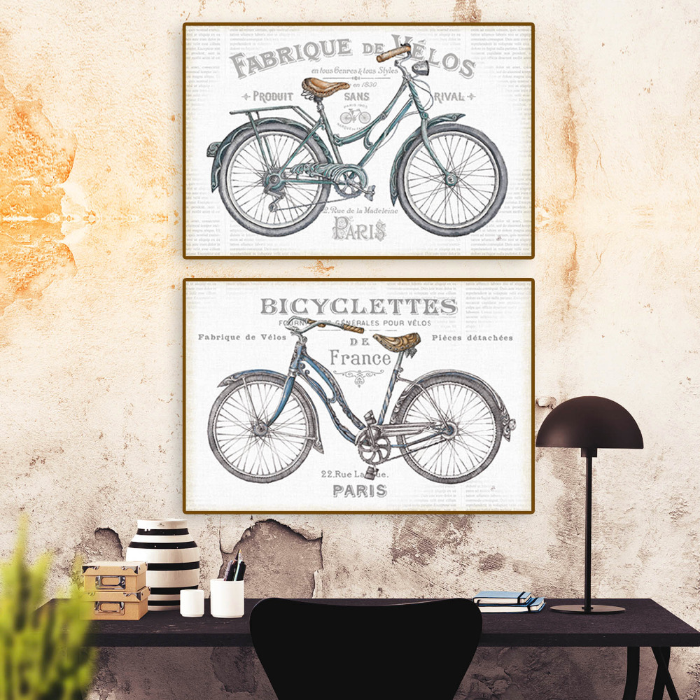 vintage art poster old bicycles spray Painting /Wall art Unframed ...