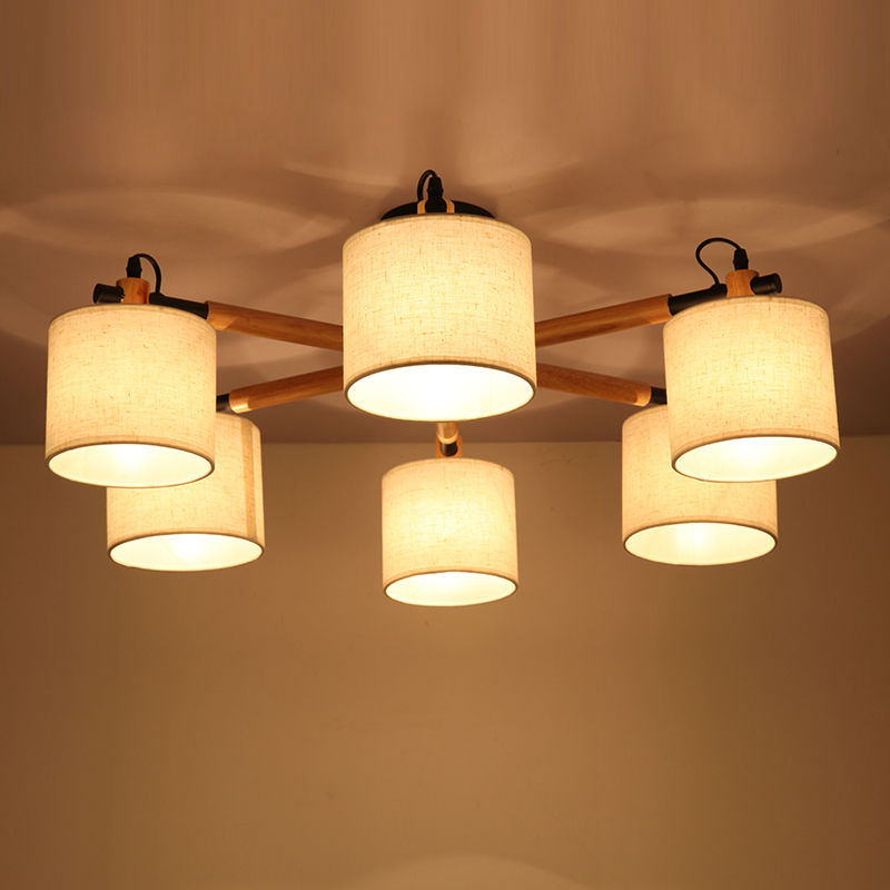 Fabric Shade Oak Wood Branch Ceiling Light Fixture Nordic Korean Japanese Style Hanging Lamp Lustre Avize Luminaria for Bedroom