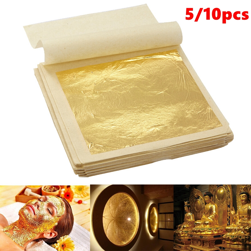 5/10pcs Sheets Practical 24K Pure Real Edible Gold Leaf Foil Gilding Handicrafts Cake Decoration Face Beauty Mask 4.33x4.33cm