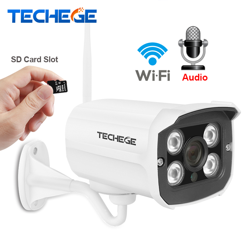 Techege HD 1080 p Wireless SD Karte Slot Audio Kamera 2.0MP wifi Sicherheit Kamera IR Nacht Vision Metall Wasserdichte Outdoor yoosee